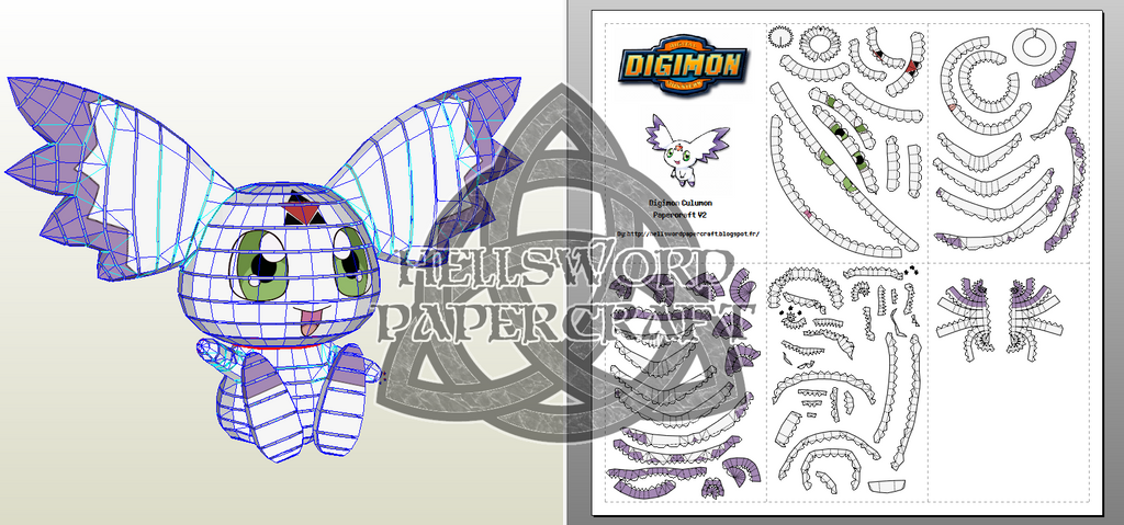digimon culumon papercraft v2 by hellswordpapercraft on deviantart