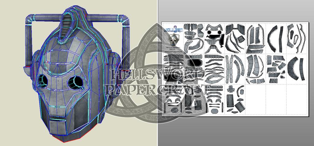 Doctor Who Cyberman Head Papercraft by HellswordPapercraft