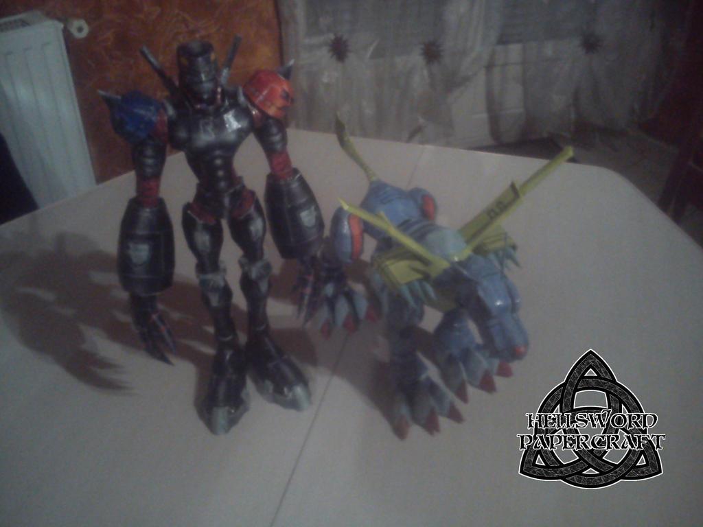 Digimon MetalGarurumon + HiAndromon Papercraft by HellswordPapercraft
