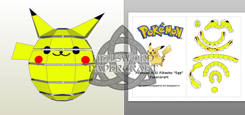 Pokemon Mini Pikachu Egg Ball Chibi Papercraft 03 By HellswordPapercraft