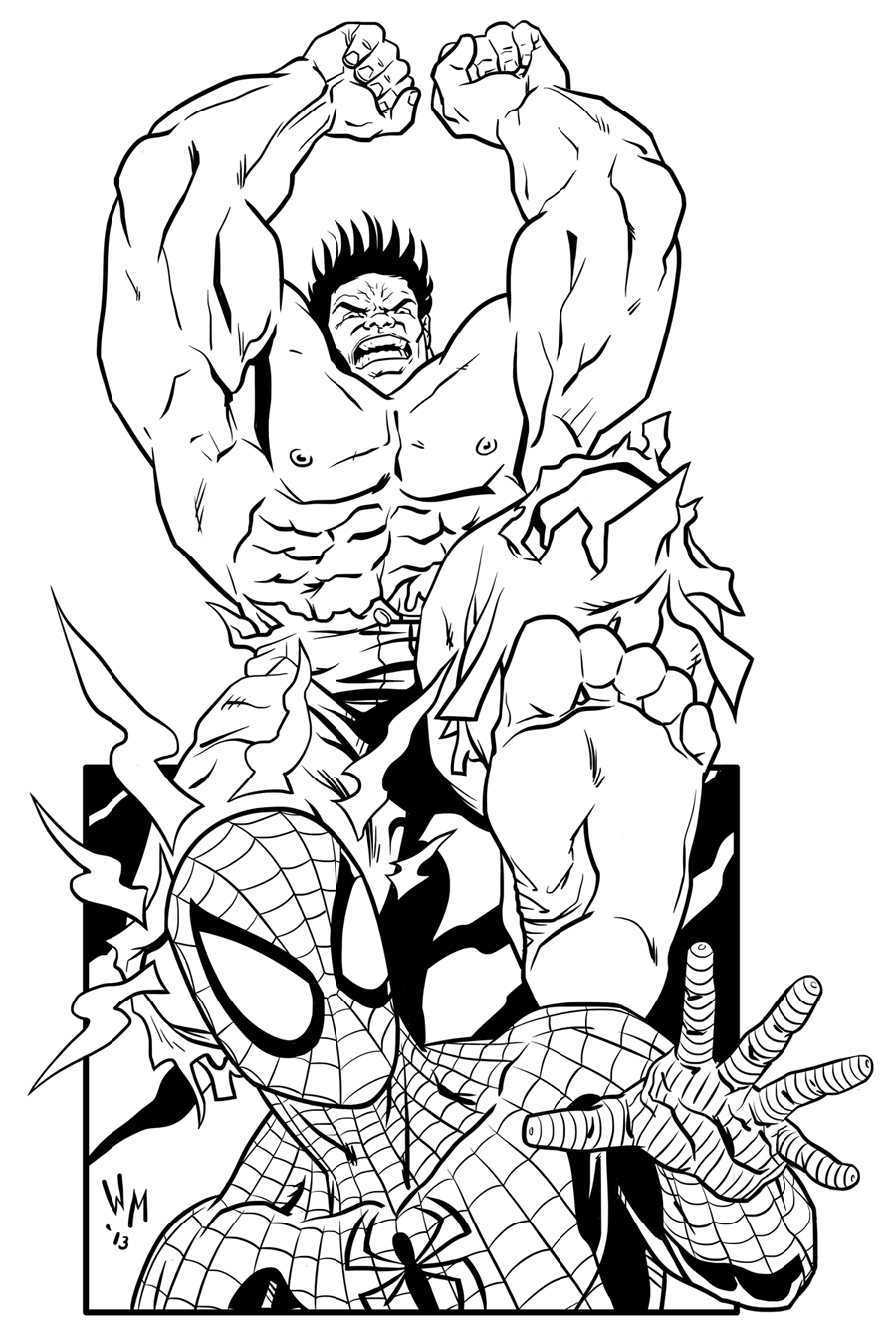 Cartoon Helden Kleurplaat Hulk Vs Spider Man By Quibly On Deviantart