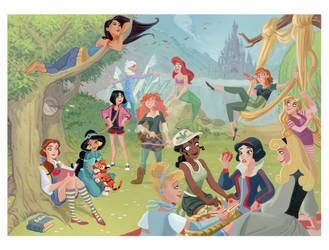 Disney Princesses on a Picnic by buttercupLF