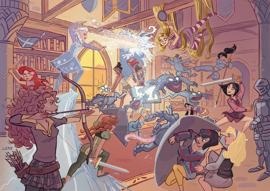 Las princesas tambien pelean/Princesses Fighting by buttercupLF