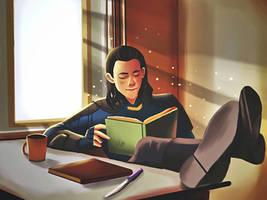 Loki reading book  by alex5228
