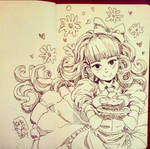 Lucia and cake Inktober