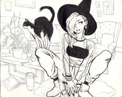 Witch in her living room