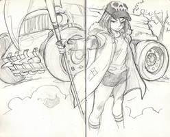 MOLESKINE SKETCH GIRL AND SCYTHE