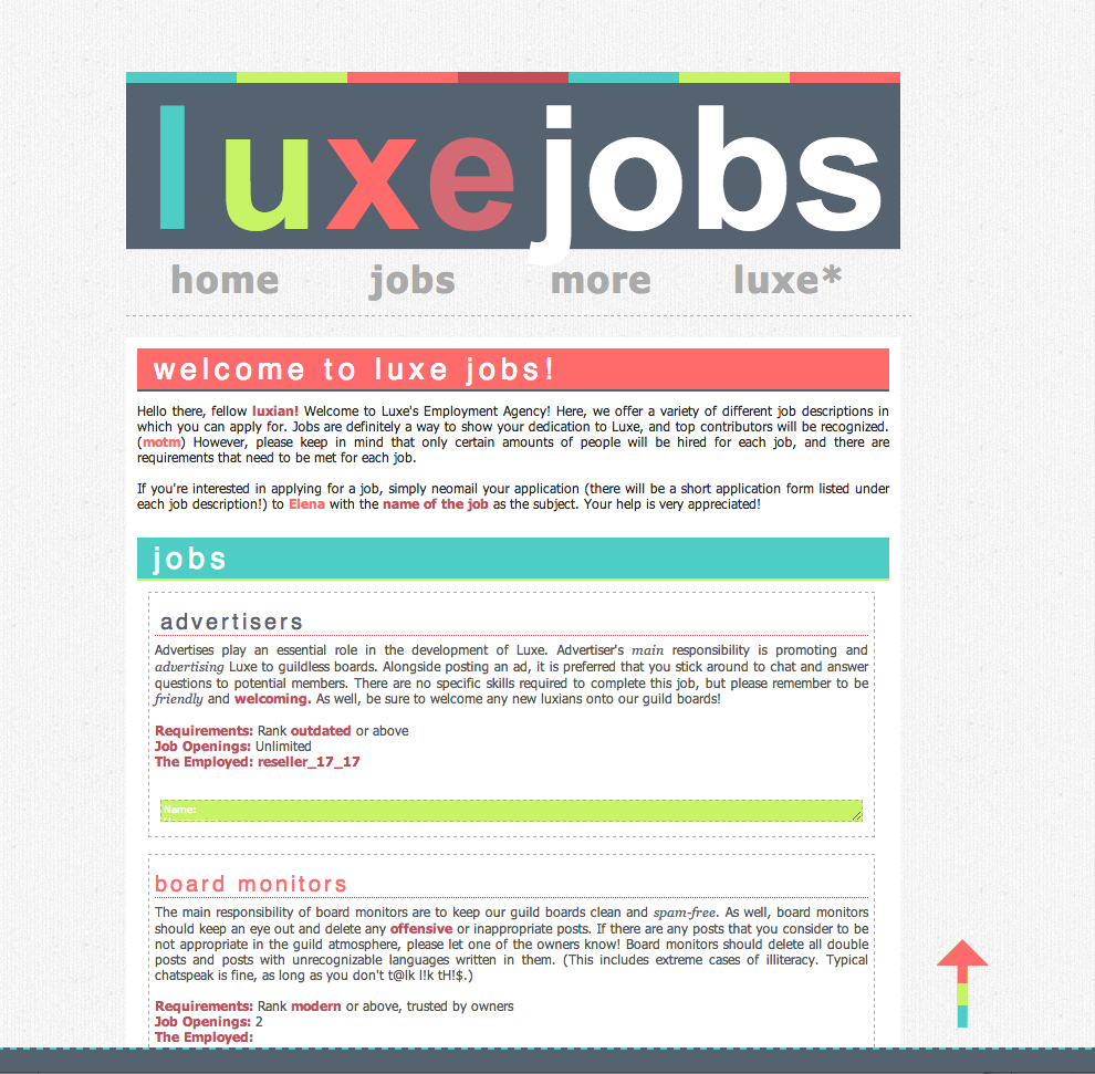 Luxe's Job Page by elenahboo