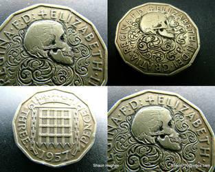 Love Token Hobo Nickel English Queen Skull Scrolls by shaun750
