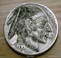 Hobo Nickel Maori Warrior Chief Carved by S.Hughes by shaun750