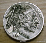 Hobo Nickel Maori Warrior Chief Carved by S.Hughes