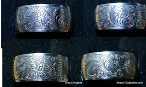 Hand Engraved Titanium Scrollwork Ring Shaun Hughe