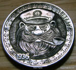 Hand Carved Hobo Nickel 'Capn' by Shaun Hughes