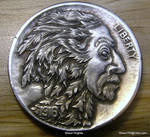 Greenman Hand Carved Coin by Shaun Hughes