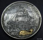 antique nautical map Coin Engraving  Shaun Hughes
