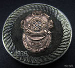 Divers Helmet Copper Inlay Buffalo Nickel