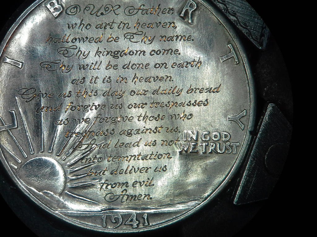 lords prayer hand engraved coin by shaun hughes by shaun750 on