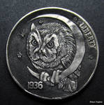 Owl Moon Coin Carving by Shaun Hughes