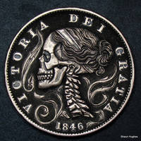 Hand Carved Skull Penny by Shaun Hughes