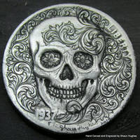 Scrollwork Skull Hand Engraved Coin by Shaun Hughe by shaun750