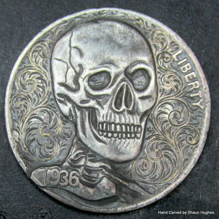 22ctAU Dark Skull Hand Carved Coin by Shaun Hughes by shaun750