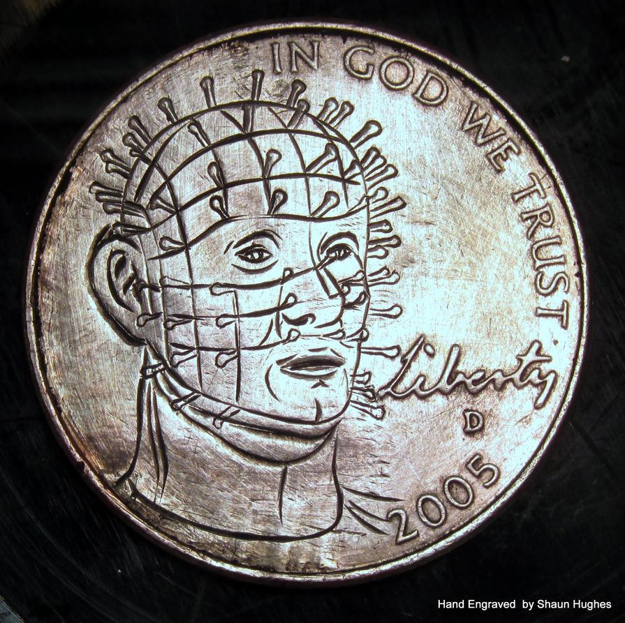 Pinhead Hell Raiser hand engraved coin by Shaun H. by shaun750
