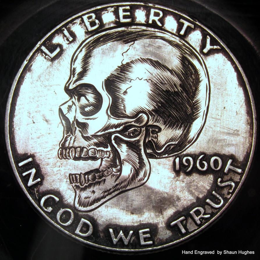 Hand Engraved 1/2 dollar skull by Shaun H. by shaun750