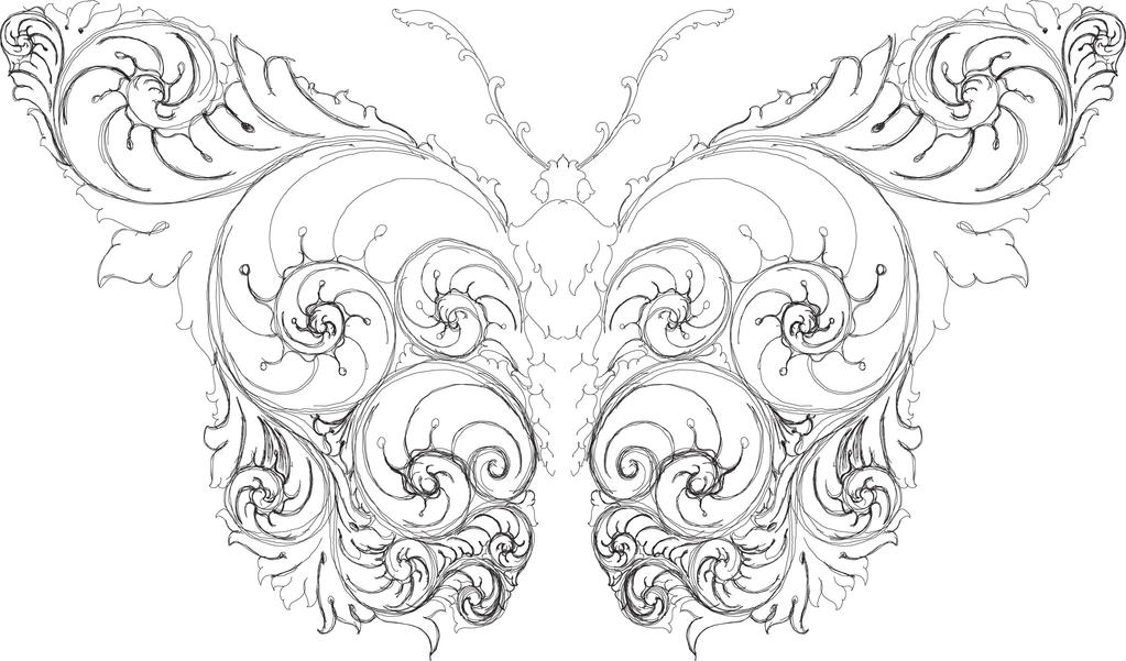 Scrollwork Butterfly WIP hand engraving by Shaun H by shaun750