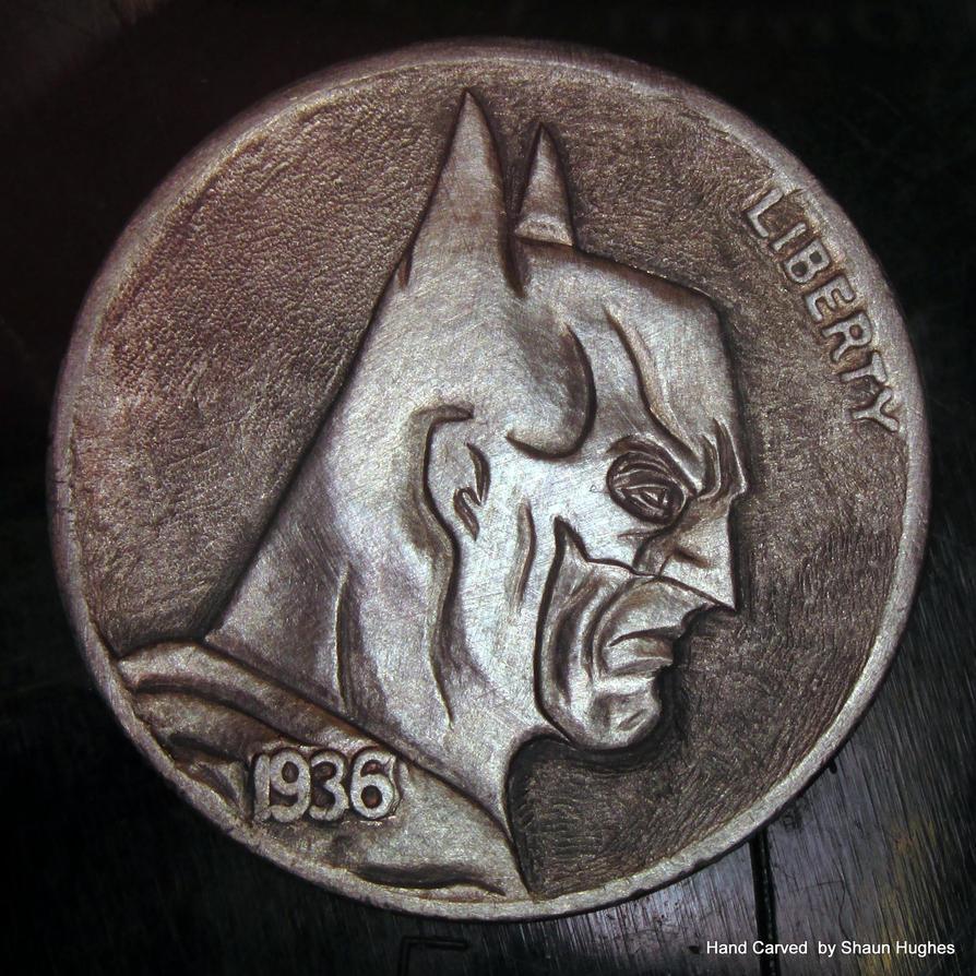 Batman Carved Coin by Shaun Hughes by shaun750