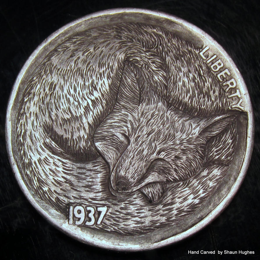 Sleeping Fox carved Coin by Shaun Hughes by shaun750