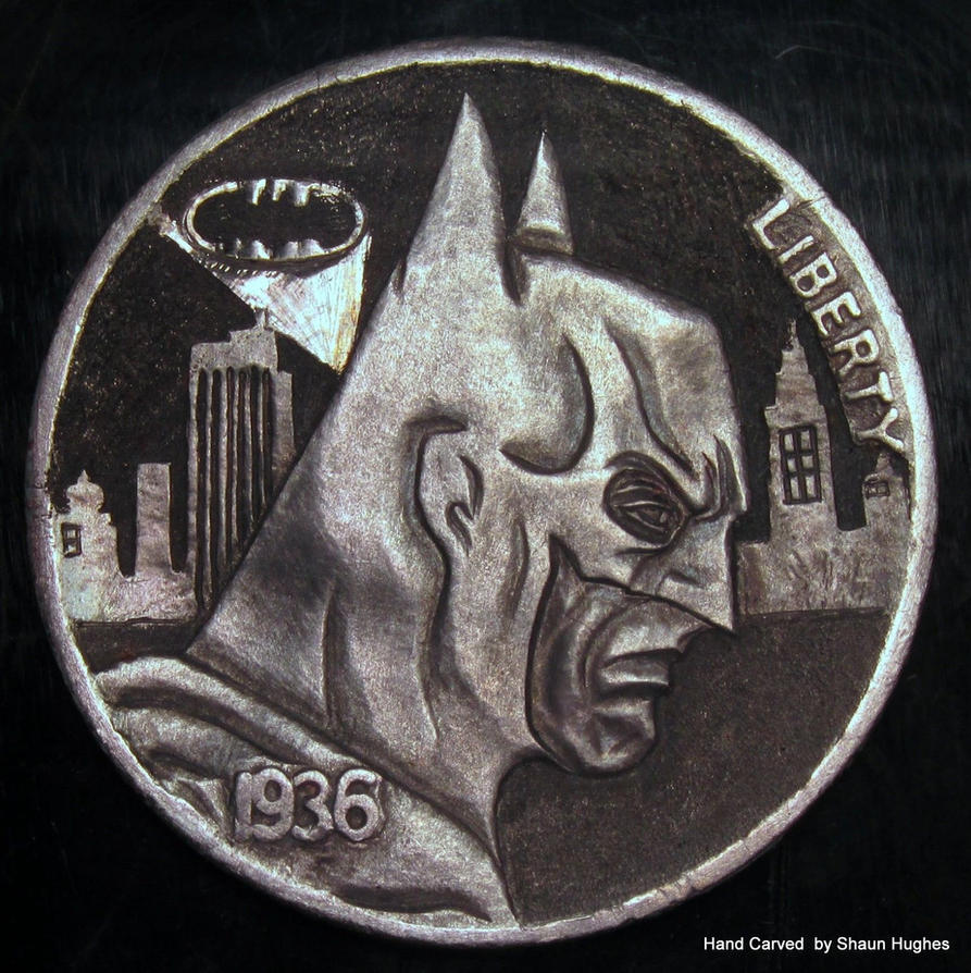 'Gotham City Needs You' Hobo Nickel Coin Carving by shaun750
