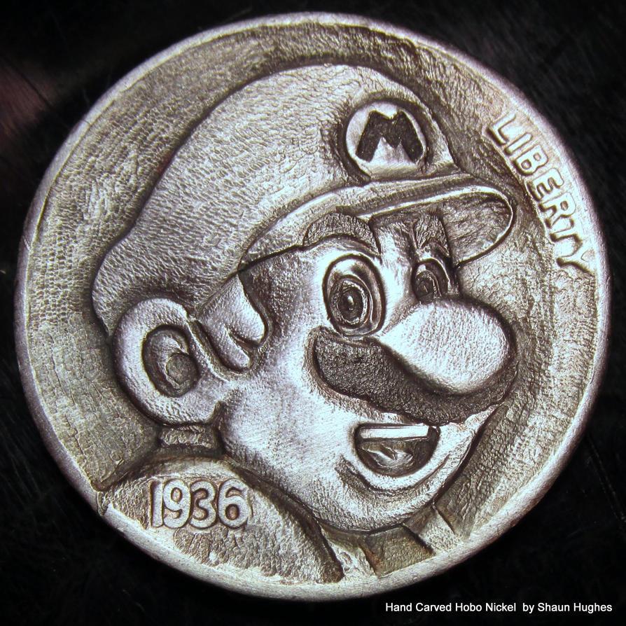 Super Mario Carved Coin by Shaun Hughes by shaun750