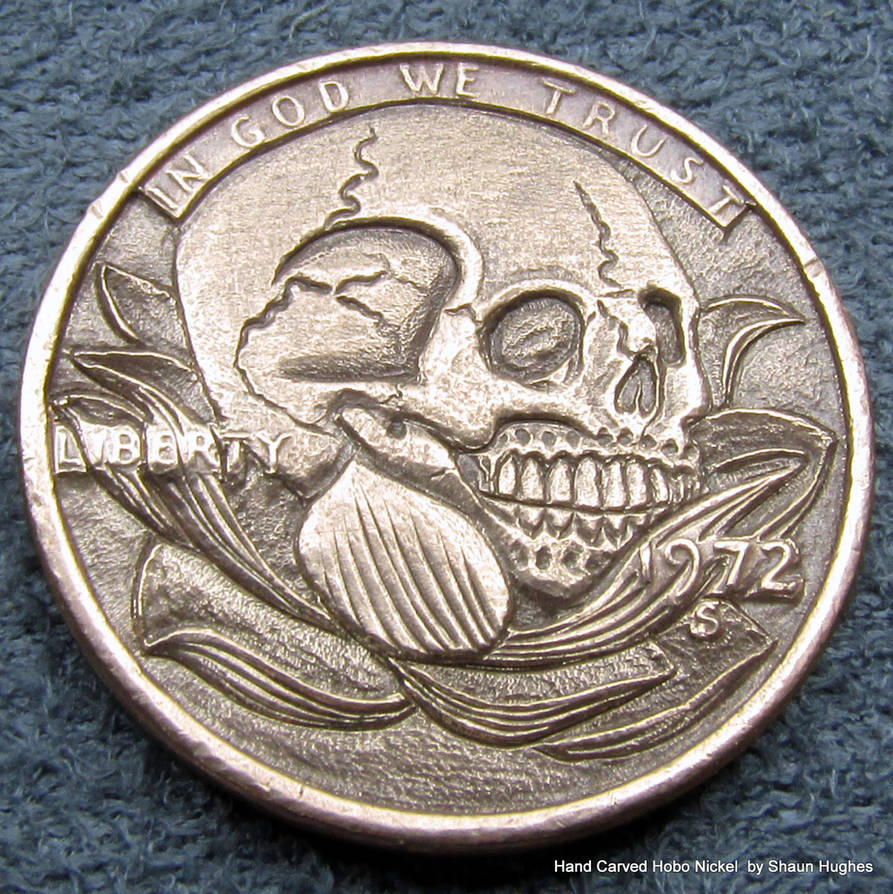 Skull In Lotus Flower Carved Coin By Shaun Hughes By Shaun750 On