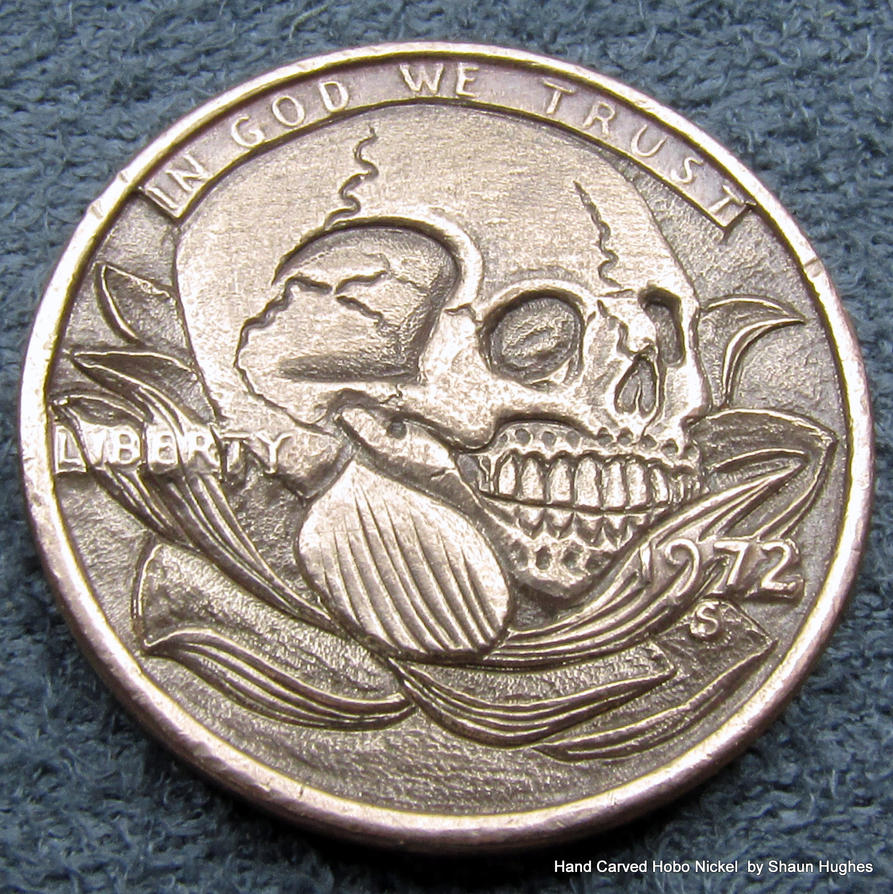 Skull In Lotus Flower Carved Coin by Shaun Hughes by shaun750