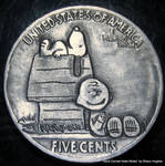 'Charlie Brown and Snoopy' Hobo Nickel Coin Carvin