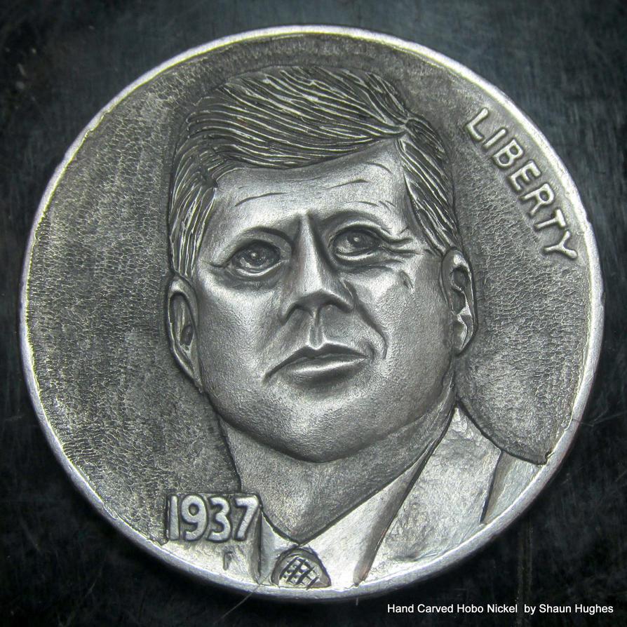 JFK Craved Hobo Nickel by Shaun Huighes by shaun750