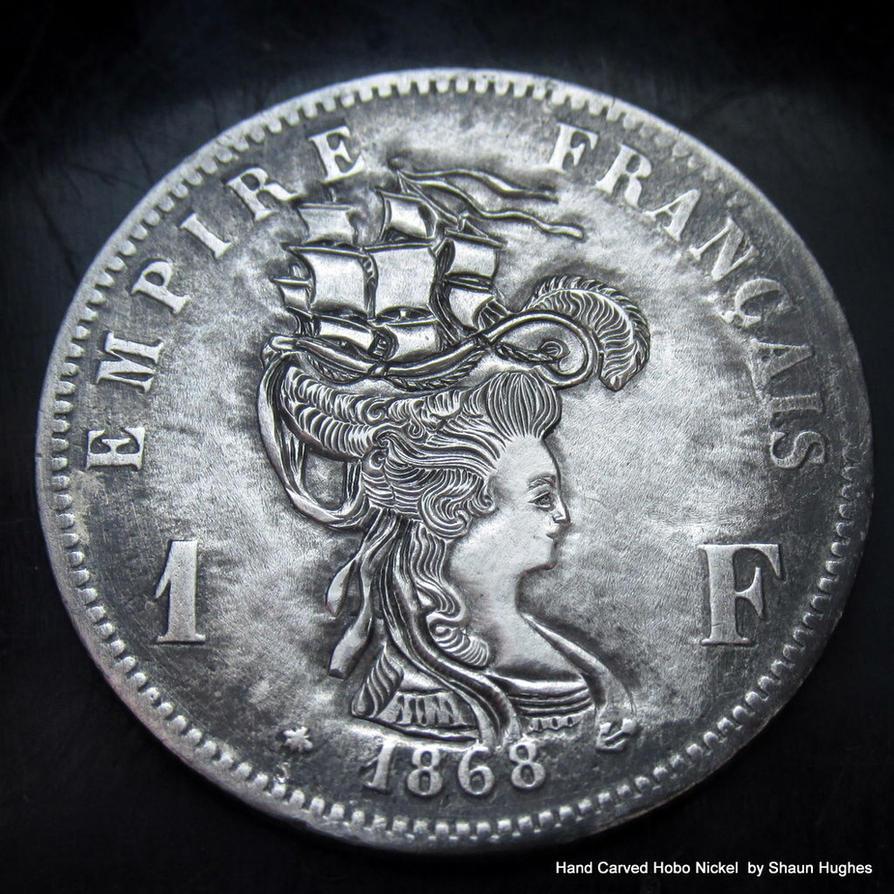 Marie Antoinette 'Ship Hair' 1868 Silver Franc by shaun750
