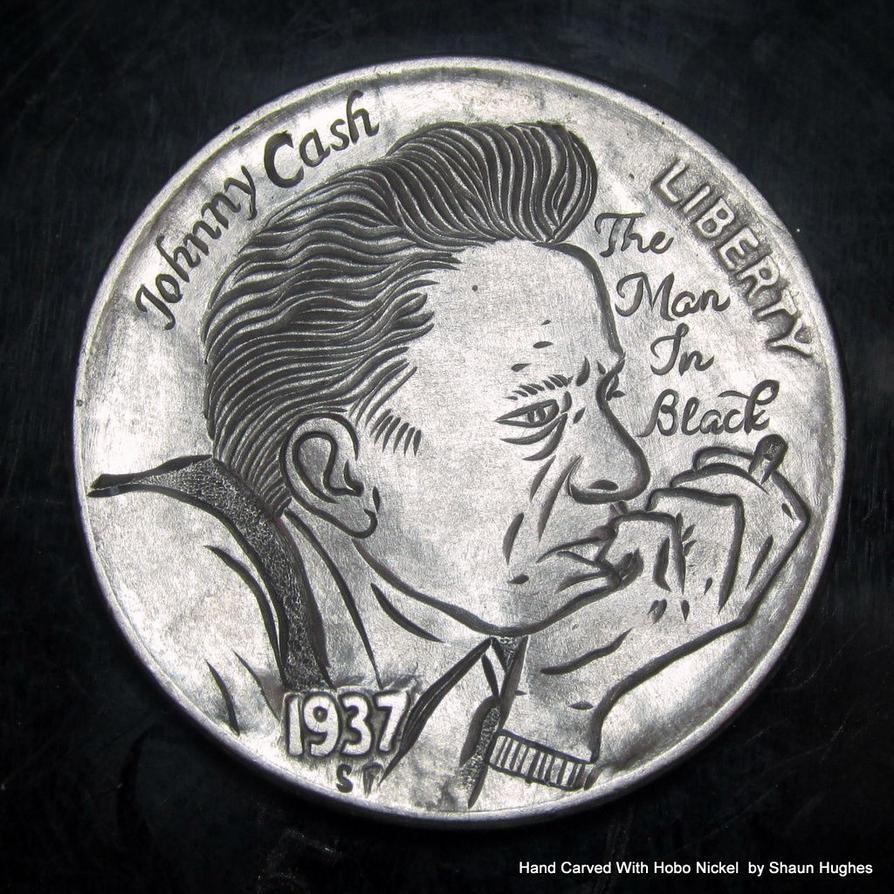 The Man In Black' Johnny Cash Hobo Nickel by shaun750