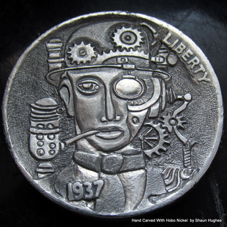 Mechanical Man Carved Coin by shaun750