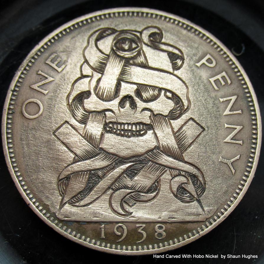 Illuminati MasonicHand Engraved Penny by shaun750