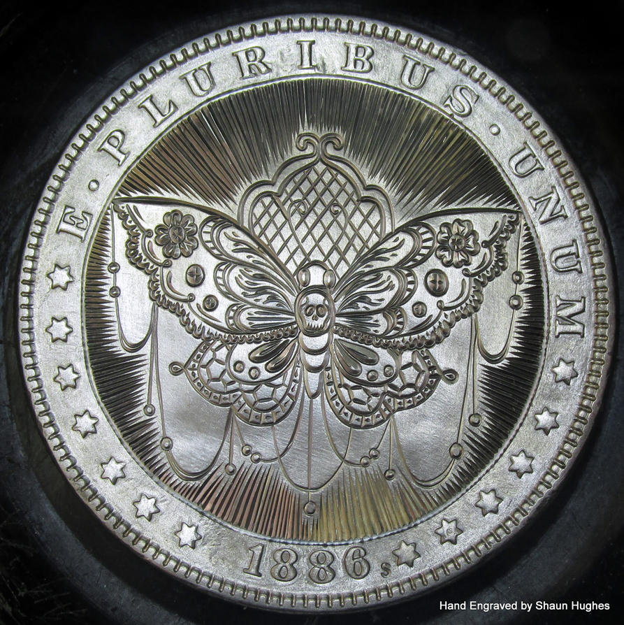 1886 Moragn Dollar BUTTERFLY Hand Engraved by shaun750