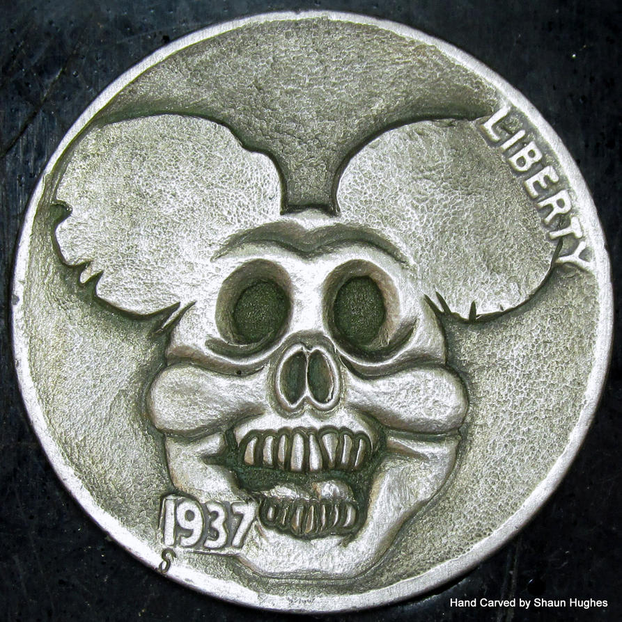 Mickey Mouse Skull Coin Carving by Shaun Hughes by shaun750