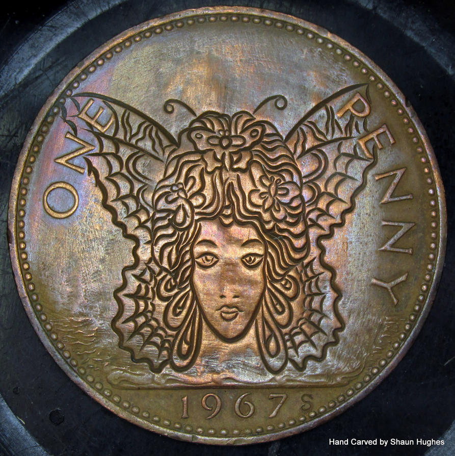 Butterfly Queen Carved Penny by shaun750