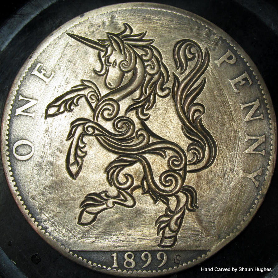 Ornate Unicorn Coin Carving Hobo Nickel by shaun750