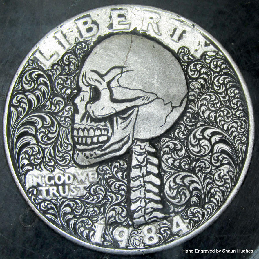 English Small Scrollwork Skull Washington Quarter by shaun750