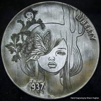 Audrey Kawasaki Hand Engraved Hobo Nickel