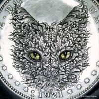 Morgan Dollar Cat 24ct Gold Eyes