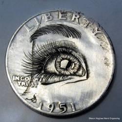 EYE Hand engraved bulino Silver Quarter by shaun750