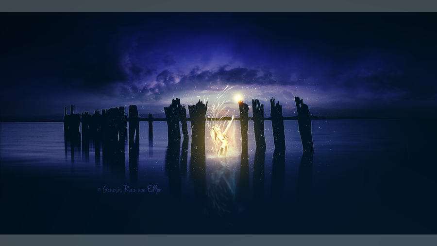 The golden mermaid in the old pier by GeneRazART