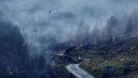 Eagle flying in fog by Ellysiumn